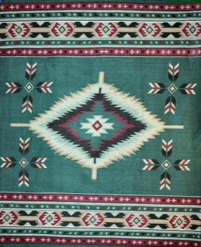 11 Southwestern blankets that will bring Santa Fe into your home:  Hunter Green Southwest Polar Fleece Throw