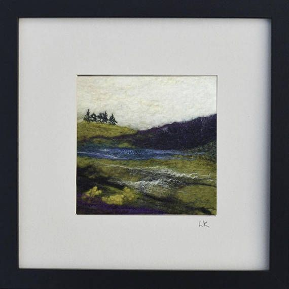 Felted Scottish landscape art fiber wall art felt painting
