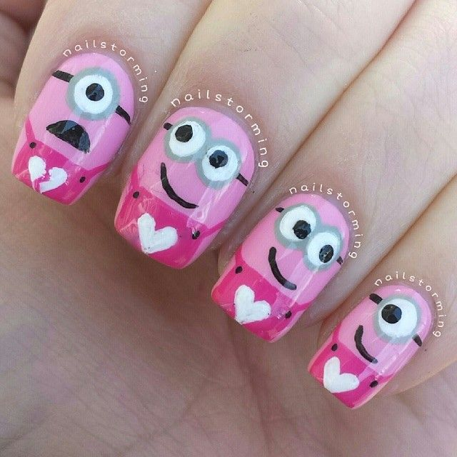 valentine minions by nailstorming #nail #nails #nailart @Abigail Fischer