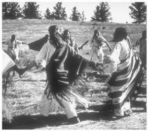 Ghost Dance resulted in the 1890 Wounded Knee Massacre. The Dance reunites the living with spirits of the dead with peace, prosperity, and unity to native peoples throughout the region. The basis for the Ghost Dance, the circle dance, is a traditional ritual which has been used by many Native Americans since prehistoric times, but this new form was first practiced among the Nevada Paiute in 1889.