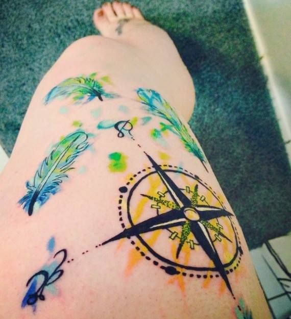 Compass feather watercolor tattoo | Tattoos | Pinterest ...