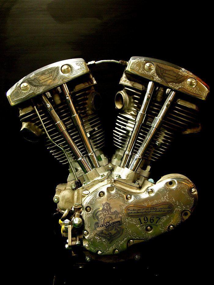 Engraving on engine