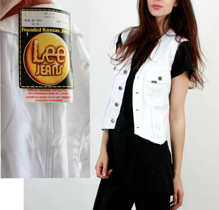 Lee Vest / Lee Jeans / Lee / White Denim Vest / Jean Waistcoat / Grunge / Hipster / S Small by Ramaci on Etsy