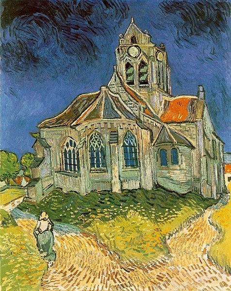 L'église d'Auvers-sur-Oise, 1890. One of van Gogh's last paintings, with the heavy impasto so characteristic of his later work. KA