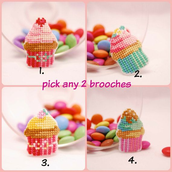 Pick any 2 cupcake cross stitch brooches. by MeandMamaCreations