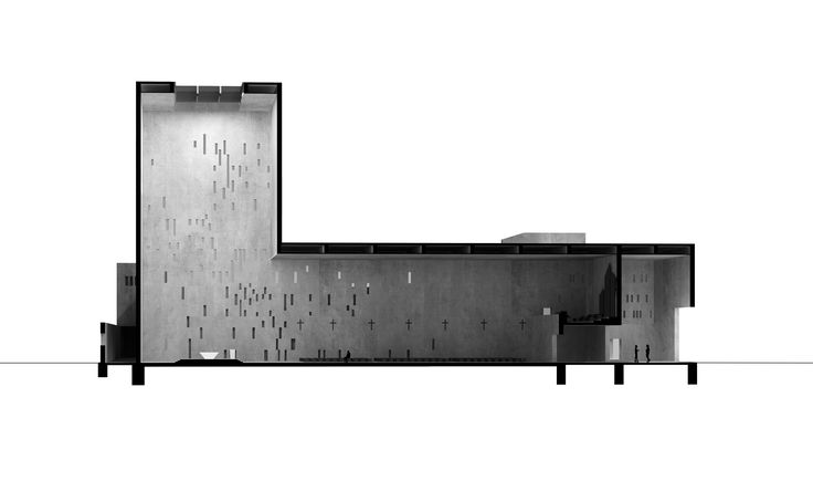 Section perspective. Project of church in Wroclaw, Poland. Competition entry. Nowe Zerniki estate. Third prize. Authors: OVO Grabczewscy Architekci Marta Lata Dobrochna Lata Mateusz Pietryga Łukasz Migała
