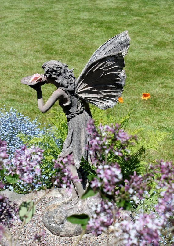Items Similar To Fairy Stone Garden Statue Photograph With Photo Mat On Etsy