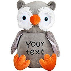 Personalized Stuffed Grey and Orange Owl with Two Lines of Embroidery