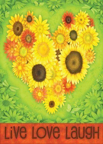 Sunflower Heart House Flag