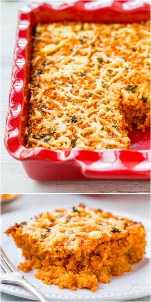 Lightened Up Cheesy Quinoa Lasagna Bake (vegetarian/vegan, GF) - This meatless & noodle-less lasagna is hearty, comforting & healthier so you can enjoy your favorite comfort food without worry!: