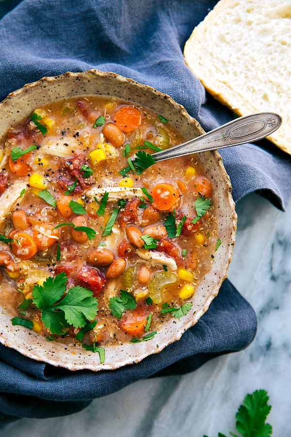 """An """"empty out the fridge"""" kind of soup — use your favorite veggies, add some quinoa + chicken, and finish it with a delicious spice blend. Healthy and hearty with all the ease of being slow cooked (dump it and forget about it meal).You know those vegetables that are left over from the last soup...Read More »"""