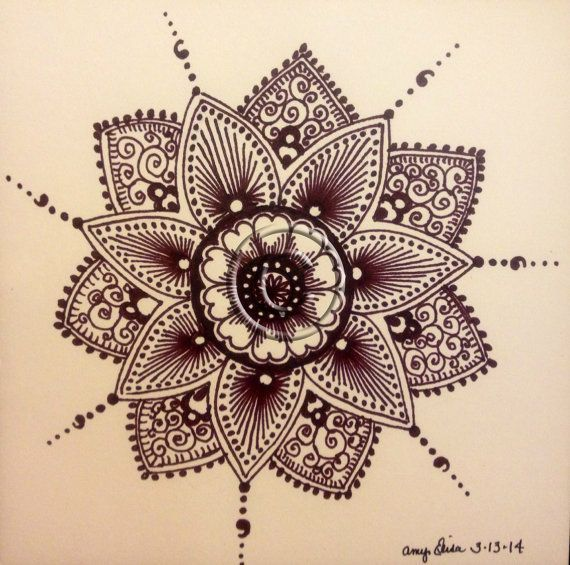 Original 6x6 Mendhi Inspired Drawing by inamyshead on Etsy, $45.00