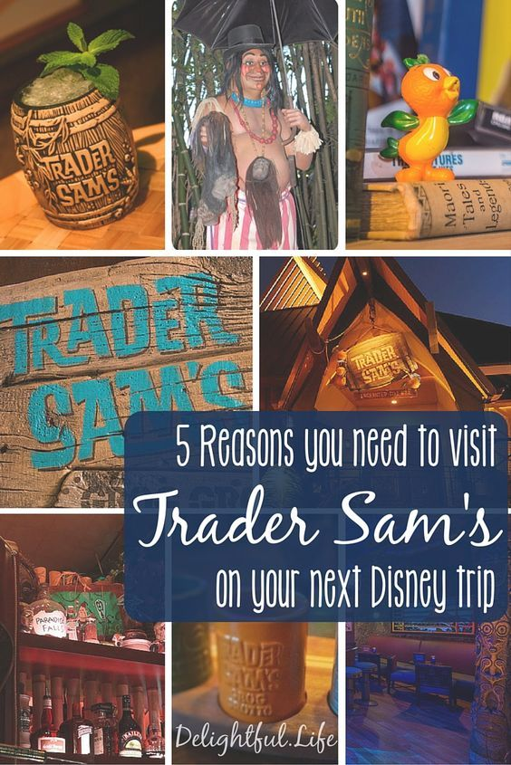Trader Sam's Grog Grotto in Walt Disney World and Trader Sam's Enchanted Tiki Bar in Disneyland are absolute must-dos on your next Disney trip! Specialty food and drinks and incredible theming make these two of the best bars in Disney parks!