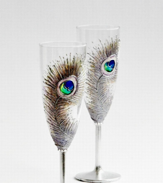 Silver Peacock Feathers Wedding Toasting by NevenaArtGlass on Etsy: Peacock Feathers, Peacock Obsession, Silver Peacock, Glasses, Toast Champagne, Flutes Hands, Hands Paintings Sets, Champagne Flutes, Feathers Wedding