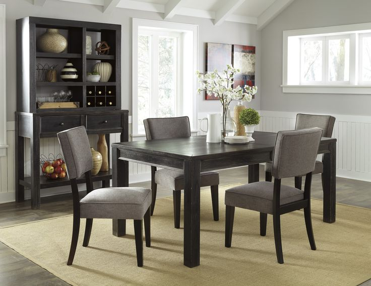 Lowest Price On Signature Design By Ashley Gavelston Black 6 Piece  Rectangular Dining Room Set With Gray Chairs Shop Today!