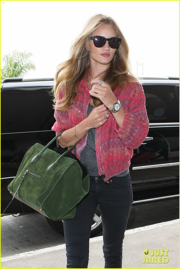 Rosie Huntington-Whiteley with green mini in suede