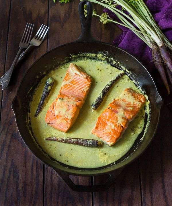 Pan seared salmon in spiced coconut milk