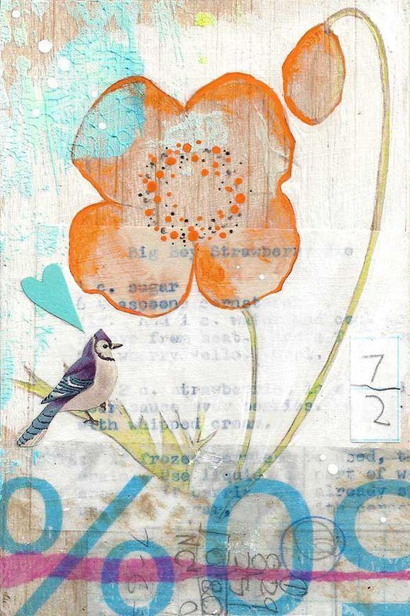 Poppy: collage on balsa wood / Oiseaux