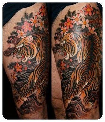 japanese tiger sleeve tattoo | Claudia De Sabe - Tiger half sleeve