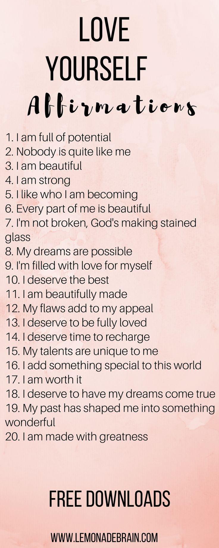 Affirmations For Better Self Esteem
