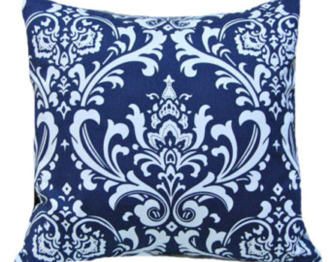 Almohada azul marino azul de cubierta - cubiertas de la almohadilla de tiro - ropa de cama - funda de almohada azul - Fundas sofá - decoración de dormitorio - Damasco almohada - 20 x 20