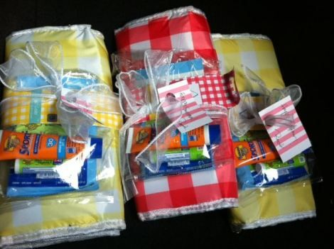 Fun Summer Gift Idea - from the dollar bin at Target - A cooler, sunscreen, lip balm and wipes