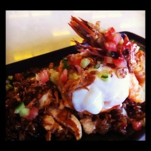 King Prawn Nasi Goreng, Chicken, Soft Egg, Fried Shallot, Cucumber Salsa: http://ow.ly/bapqs