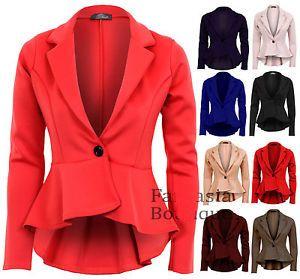 la mujer elegante de gran tamaño de color caramelo de cola de pescado peplum casual blazer botón de un tramo de cola de golondrina traje de chaqueta corta abrigo xxl