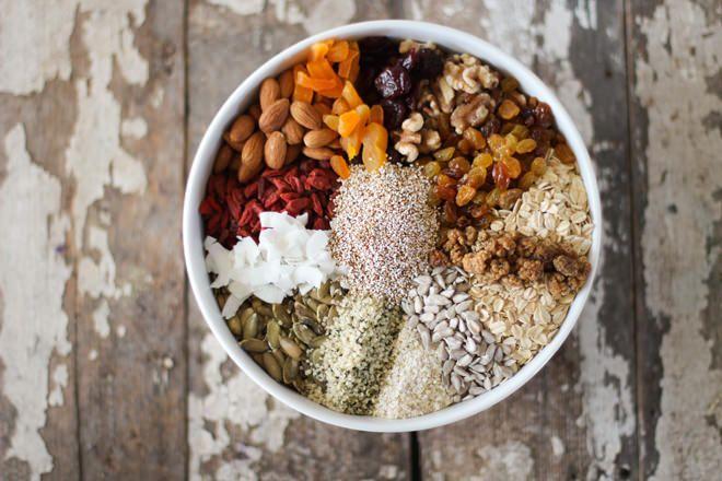MUESLI - Not paleo, but can make it gluten free. Use creamy buckwheat instead of amaranth and quinoa. Use gluten free oats.