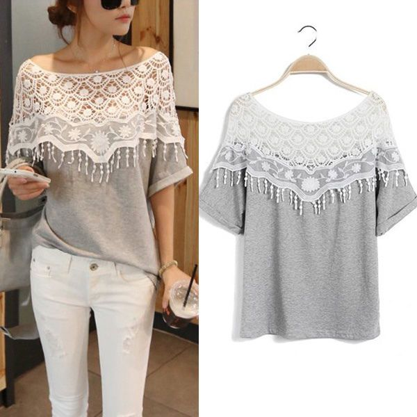 Zanzea Batwing Off Shoulder Crochet Tassel Neck Cotton Loose Top Blouse T Shirt