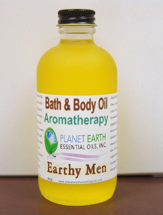 Earthy Men Aromatherapy Bath & Body Oil     2oz by planetearthoils, $20.00