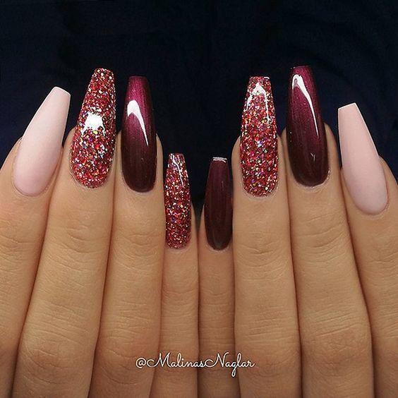 Medium / long coffin nails; Glitter nails, nails, pink nails, acrylic nails