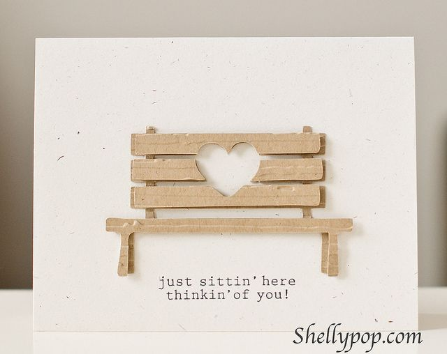 handmade card ... sweet die cut bench with a negative space heart die cut