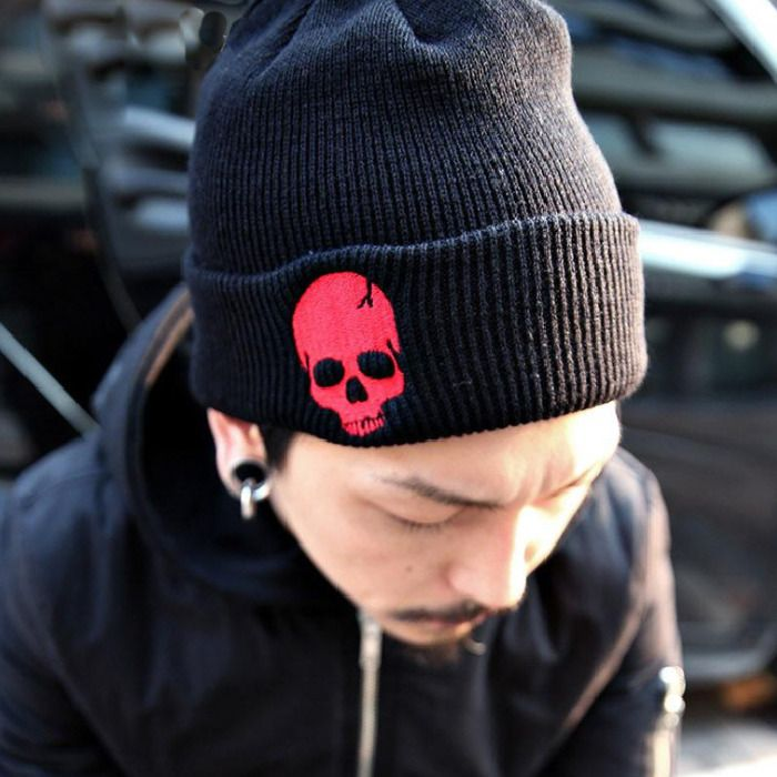 BEANIE SKULL CAP WITH VISOR PUNK SKI SKATE WINTER NEW hat Black