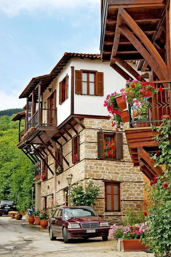 Macedonian architecture and beautiful houses in Arnea, Chalkidiki