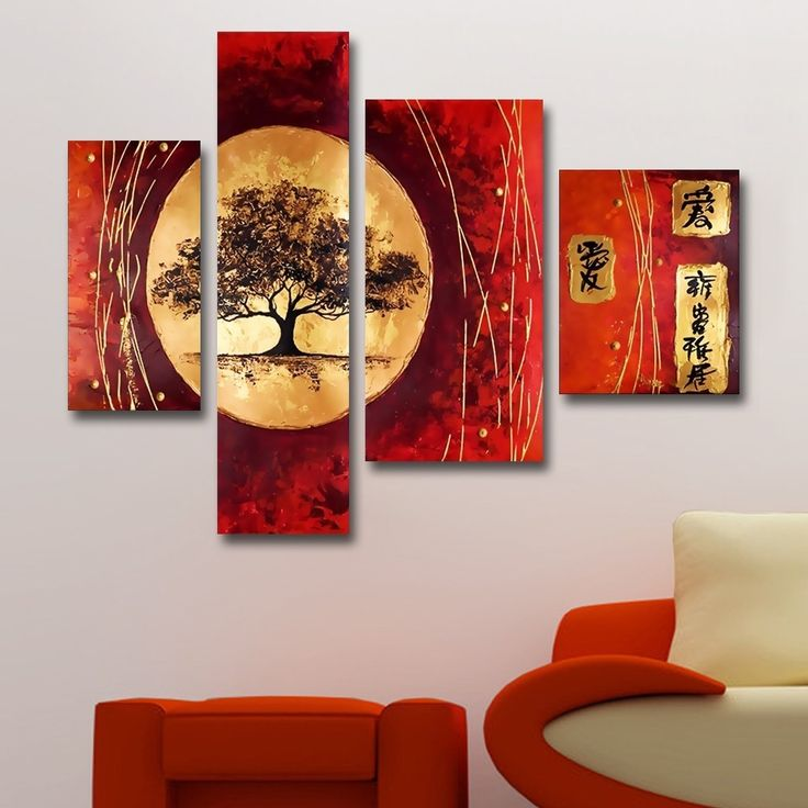 Each and every brush stroke of this beautiful four-piece artwork is 100-percent hand-painted in high quality oil paint on canvas. The painting features beautiful, rich colors on mounted canvas, and arrives ready to hang.