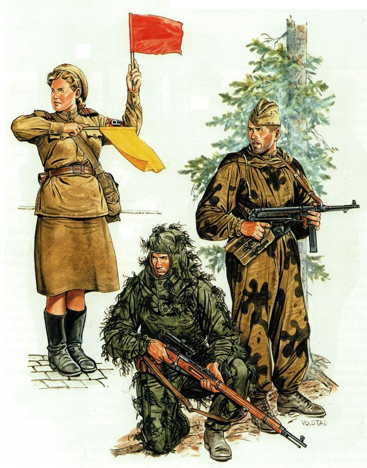 Red Army Operation Bagration 1944: Woman traffic control sergeant,sniper and scout (razvedchiki).