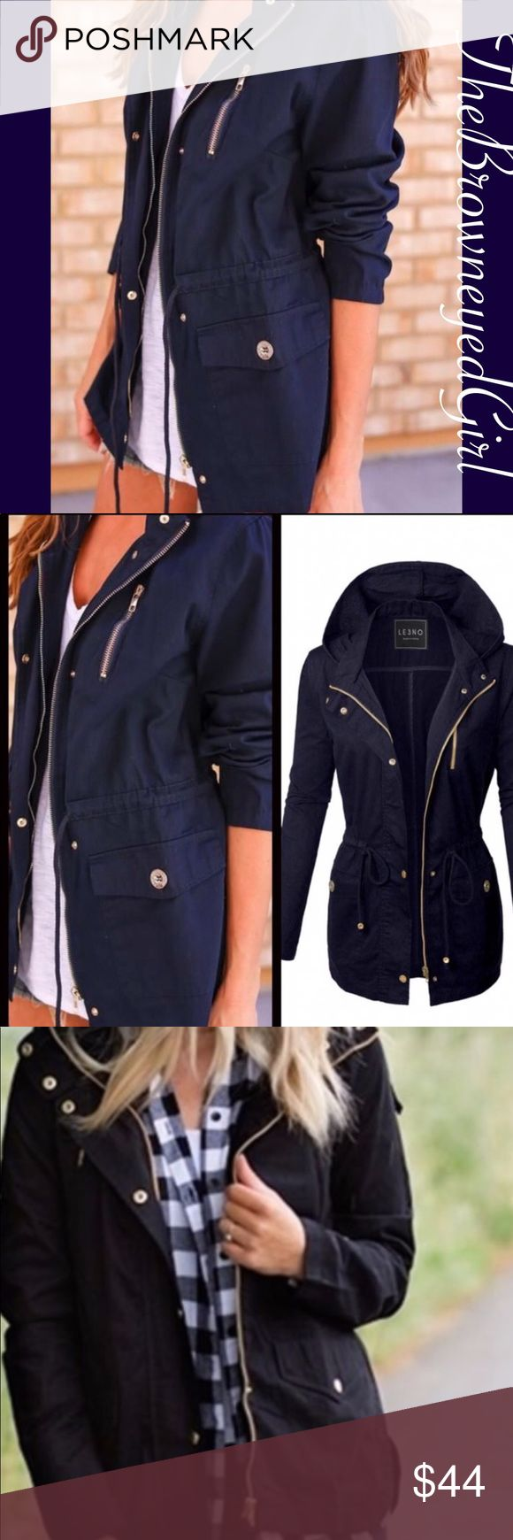 """Navy Women's Roark utility jacket It's all about that cargo Jacket One of the hottest trend this Fall The Anorak Safari Jacket  Navy Utility Jacket Draw string tie at waist pockets on each side with  decorative zipper on chest Hooded with Buttons,  zips up the front. Buttons and zippers are dull gold  Small B 34"""" L26 Medium B36"""" L26 Large B36"""" L26 Jackets & Coats Utility Jackets"""