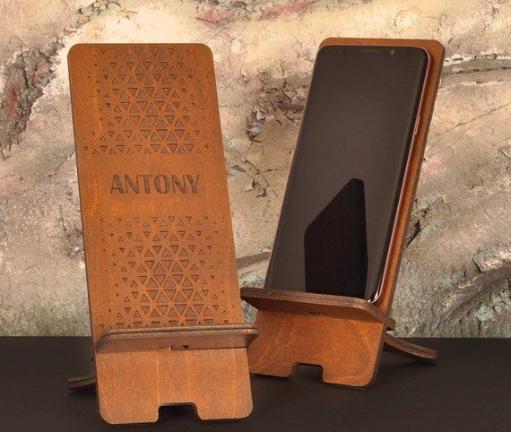 Wooden Phone Stand Charging Station Gift Men Holder 30th Birthday Wood