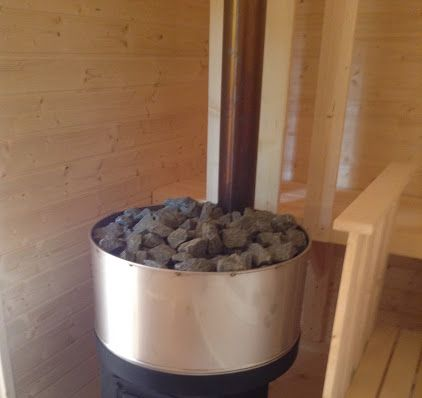 Google+ Sauna / Ruska Bania z przedsionkiem i garażem.