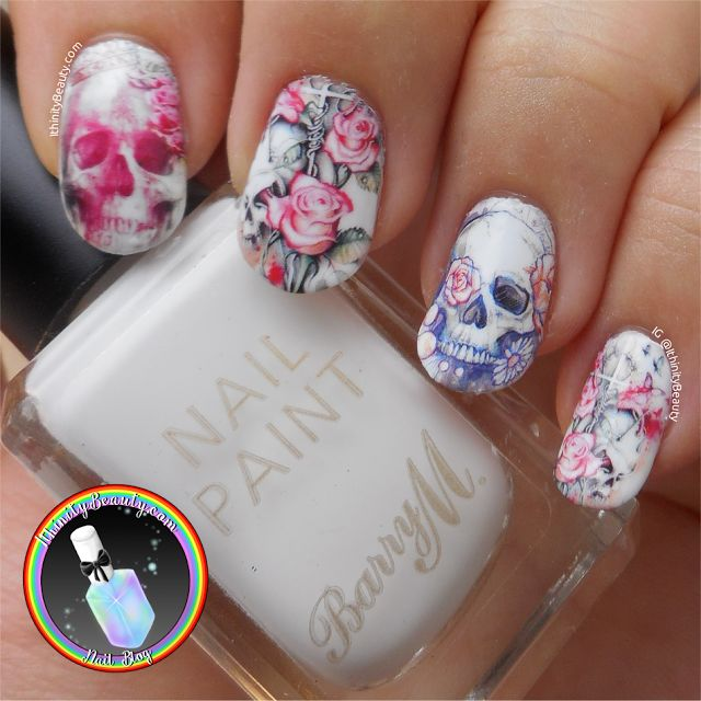 Ithinity Beauty -  Nail Art  Blog: Skull/Floral Rose Water Decals - BeautyBigBang Review