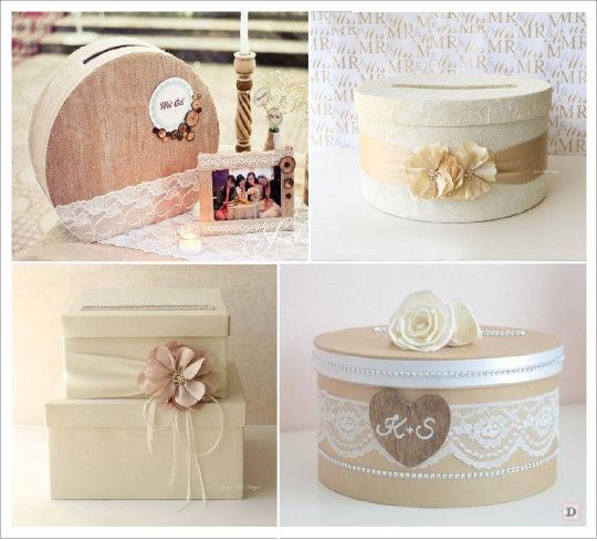 urne mariage retro vintage boite ronde chapeau, boite carré superposée