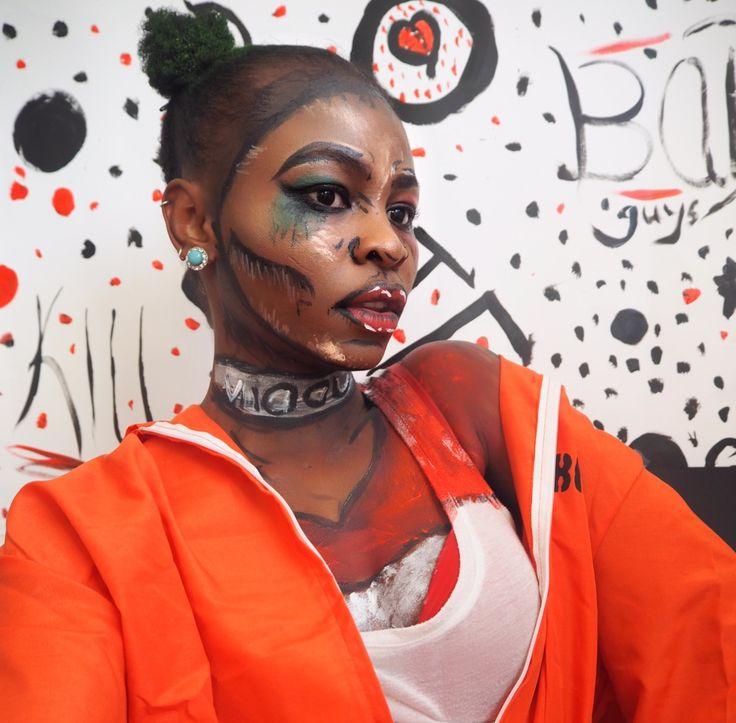 Harley Quinn Pop Art Halloween Make Up + Outfit   #popart #afro #suicidesquad      #blackgirls