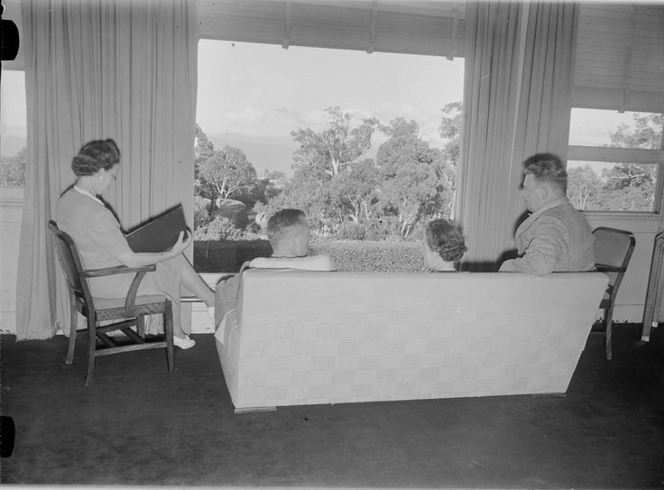 Reading in the Chalet Drawing Room, 1950's. (No children under 16 allowed back then)