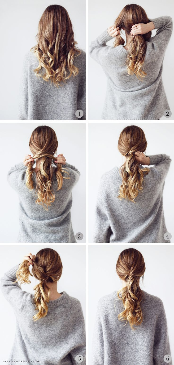 Messy hair twisted ponytail