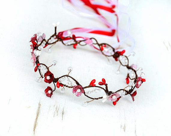 Cherry blossom crown, Red headband, Flower girl crown, Red hair wreath, Floral bridal tiara Floral circlet, Pearl hair jewelry, Wedding halo