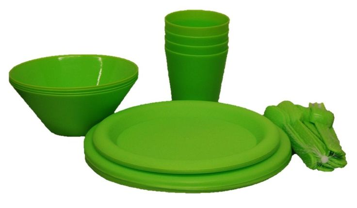 Set of 28 Plastic Plates Plastic Mugs Bowls & Cutlery In Red Blue Pink & Green #Koop