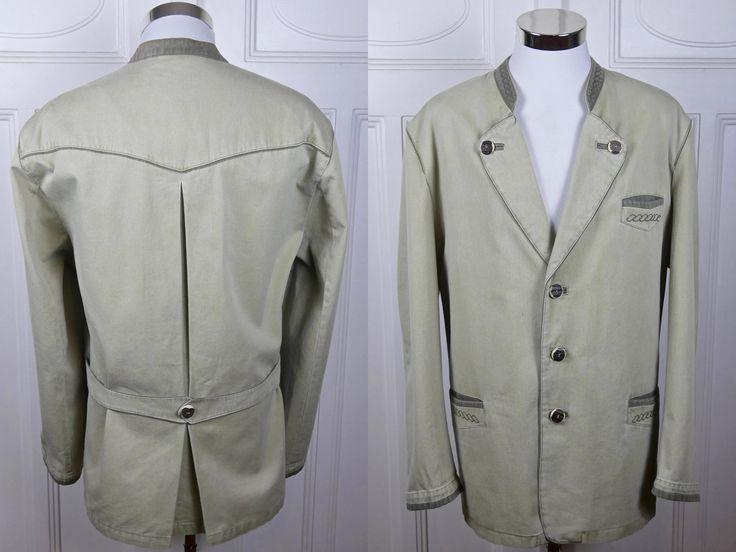 Austrian Trachten Jacket, Vintage Bavarian Blazer w Faux Antler Buttons, Light Tan w Olive Green Accents, Lodenfrey: Size XXXL (48 US/UK) by YouLookAmazing on Etsy