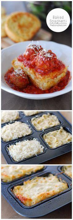 SUPER POPULAR RECIPE!! Baked Spaghetti recipe for mini loaves of creamy Alfredo baked spaghetti topped with meatballs and marinara sauce.