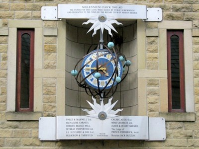 This millennium clock is located on St. George's Street in the beautiful little town of Hebden Bridge in West Yorkshire.